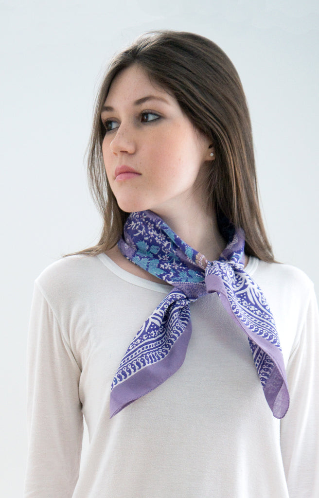 Scarf in Purple Strawflower