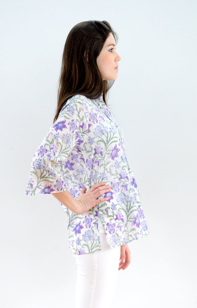 Pintuck Blouse in Purple Thistle