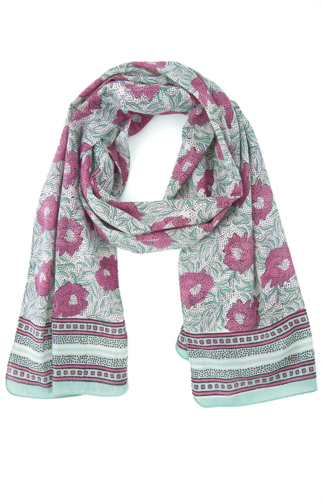 Scarf in Raspberry Sea Flower