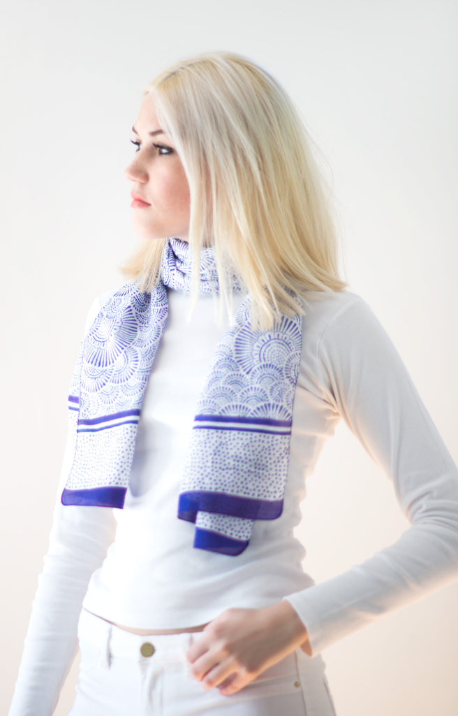 Scarf in Ripples Blue