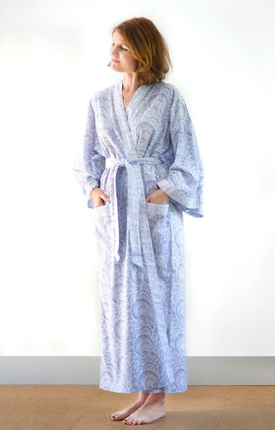 Long Kimono in Ripples Blue