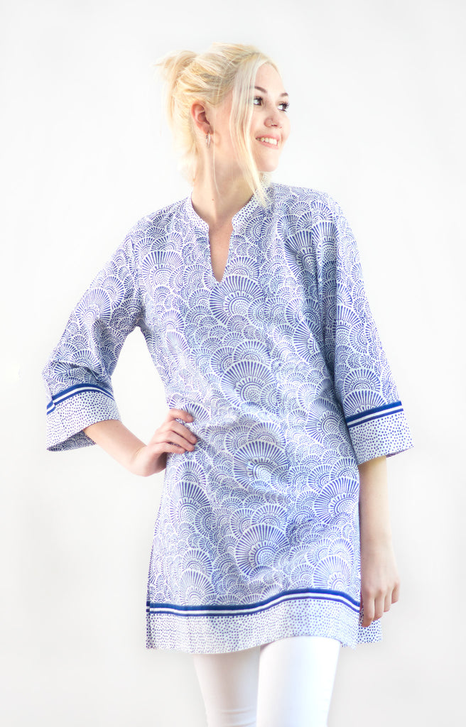 Straight Tunic in Ripples Blue