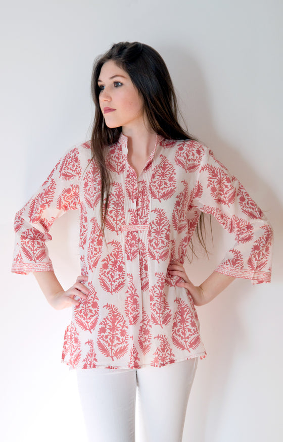 Pintuck Blouse in Rose on Natural