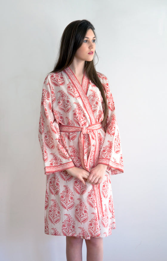 Short Kimono in Rose on Natural