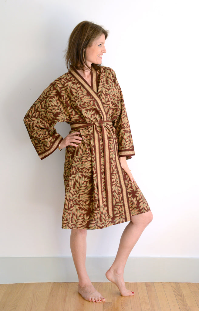 Short Kimono in Rust Leaves
