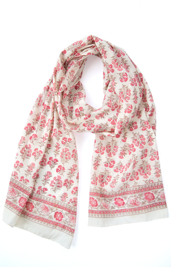 Scarf in Salmon Trumpet Flower