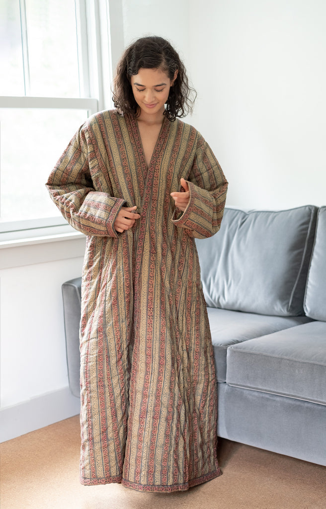 Quilted Robe in Scrolling Stripe