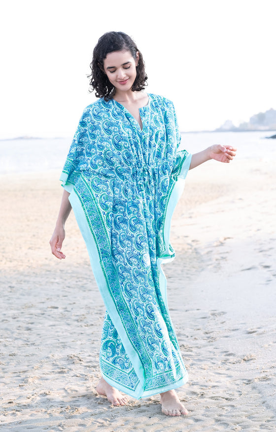 Drawstring Kaftan in Sea Swirl