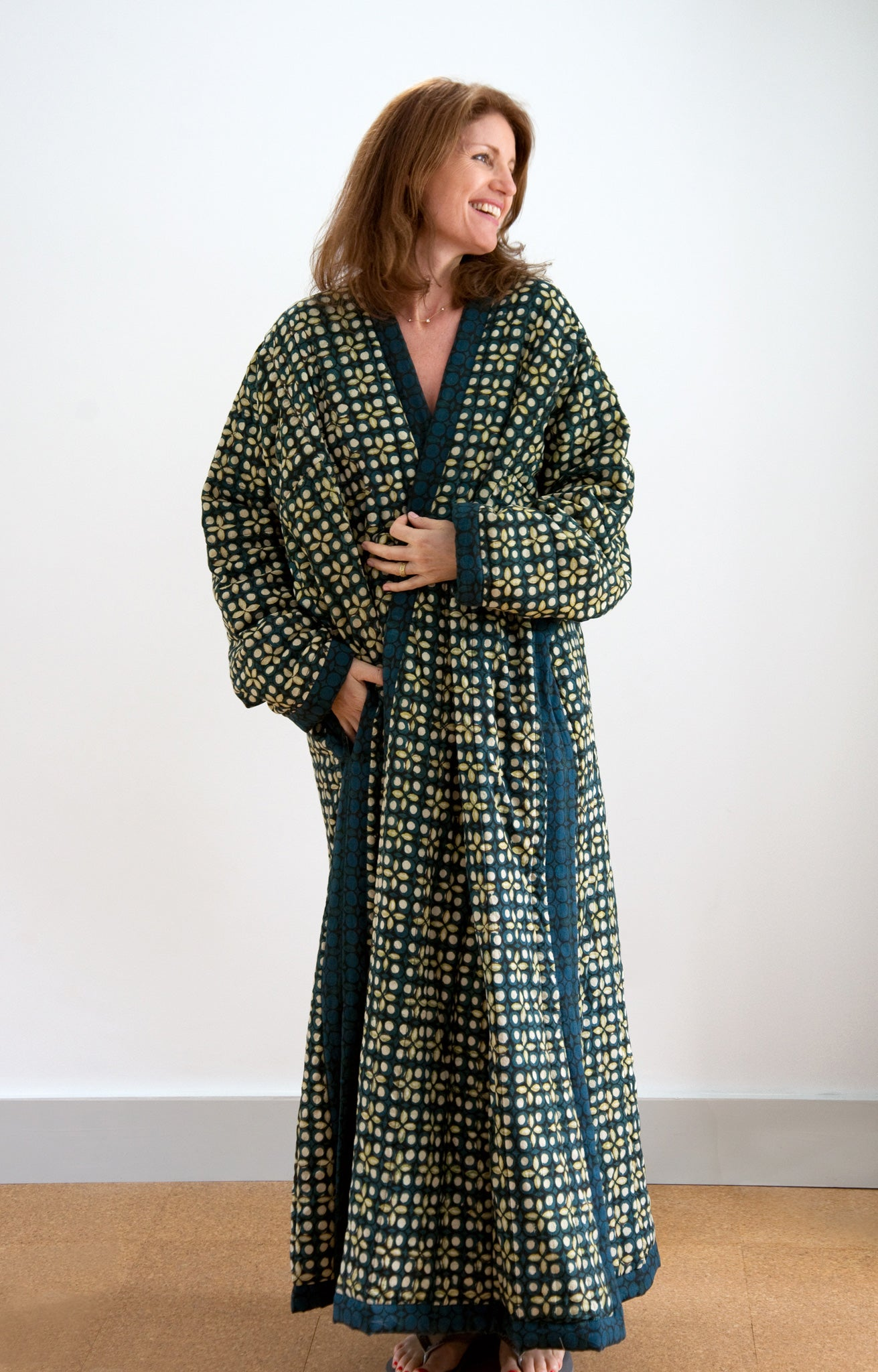 Quilted Robe in Starlight | Anokhi USA : quilted robe - Adamdwight.com