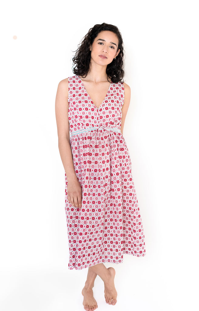 Button Sundress in Sweet Rose