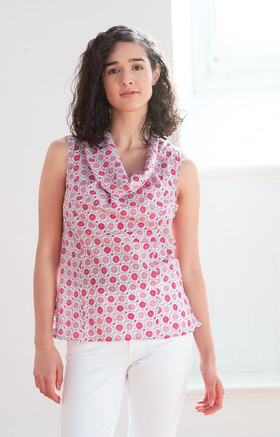 Cowl Tank in Sweet Rose
