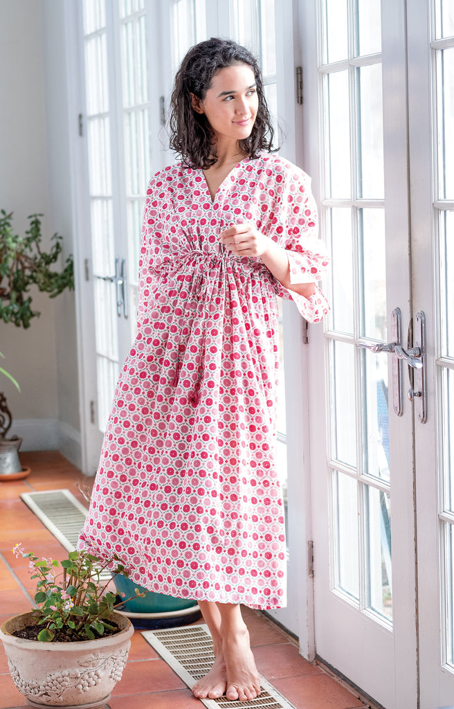Peasant Dress in Sweet Rose