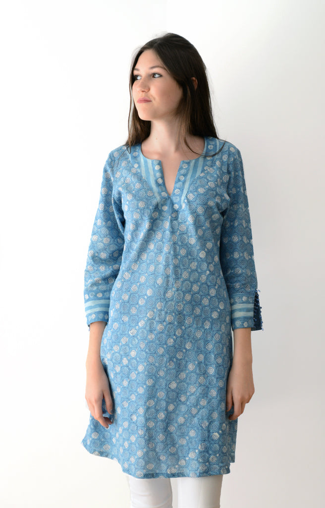 Bias Tunic in Sweetest Indigo Flower