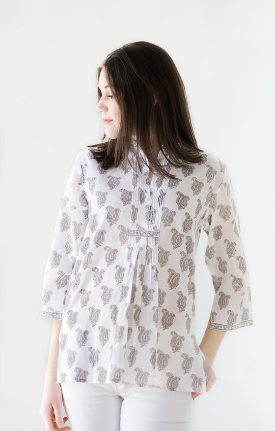 Pintuck Blouse in Taupe Paisley