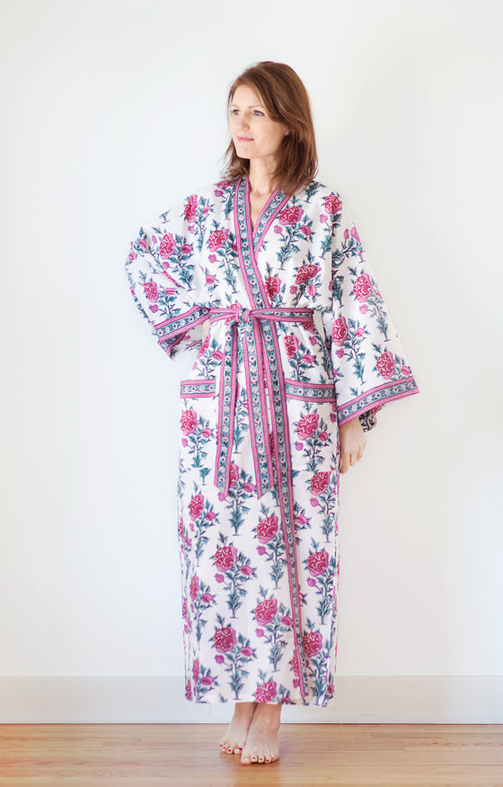 Long Kimono in Tea Rose