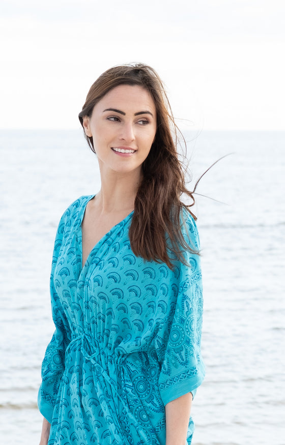 Drawstring Kaftan in Teal Fans