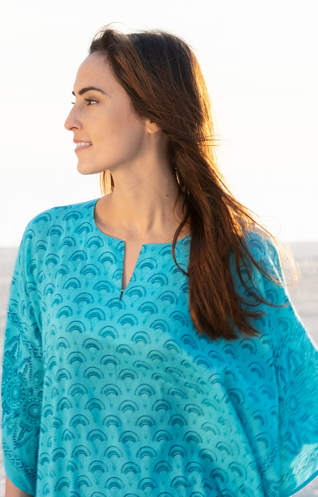 Kaftan in Teal Fans