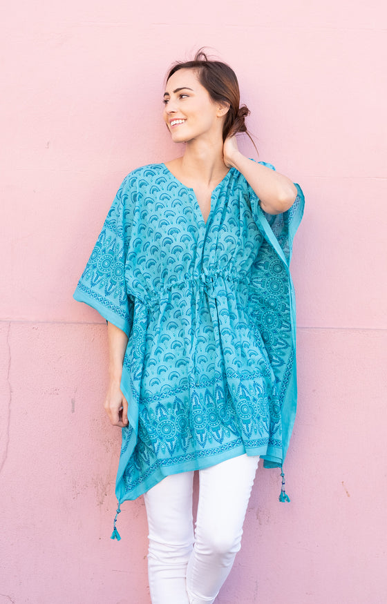 Peasant Tunic in Teal Fans