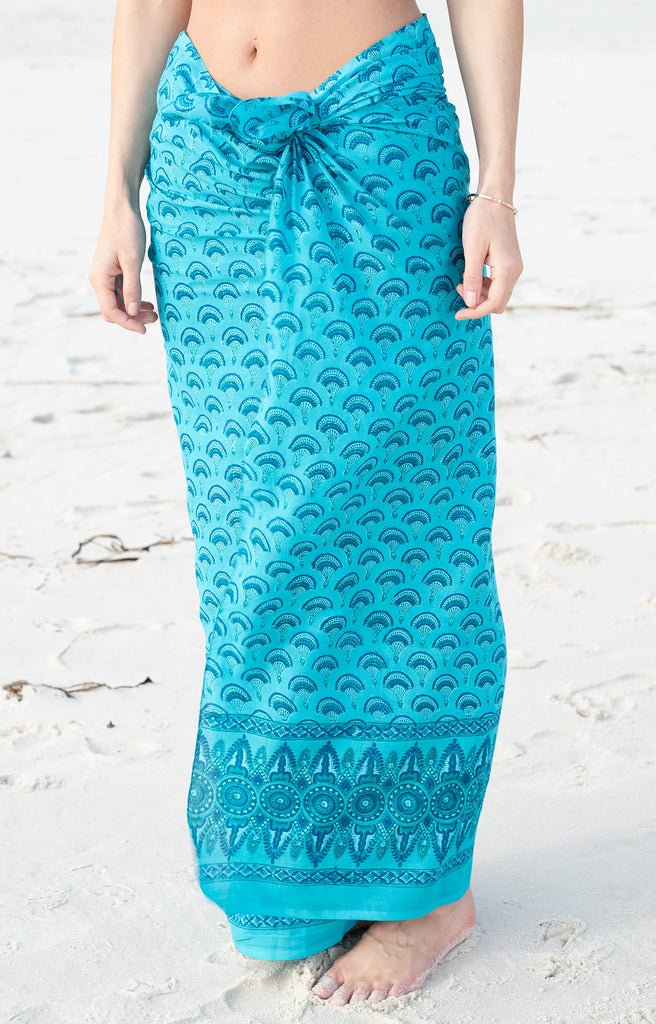 Sarong in Teal Fans
