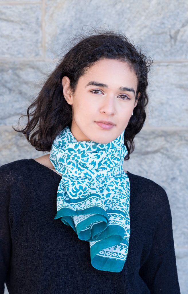 Scarf in Teal Stencil