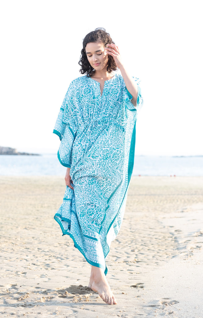Drawstring Kaftan in Teal Stencil