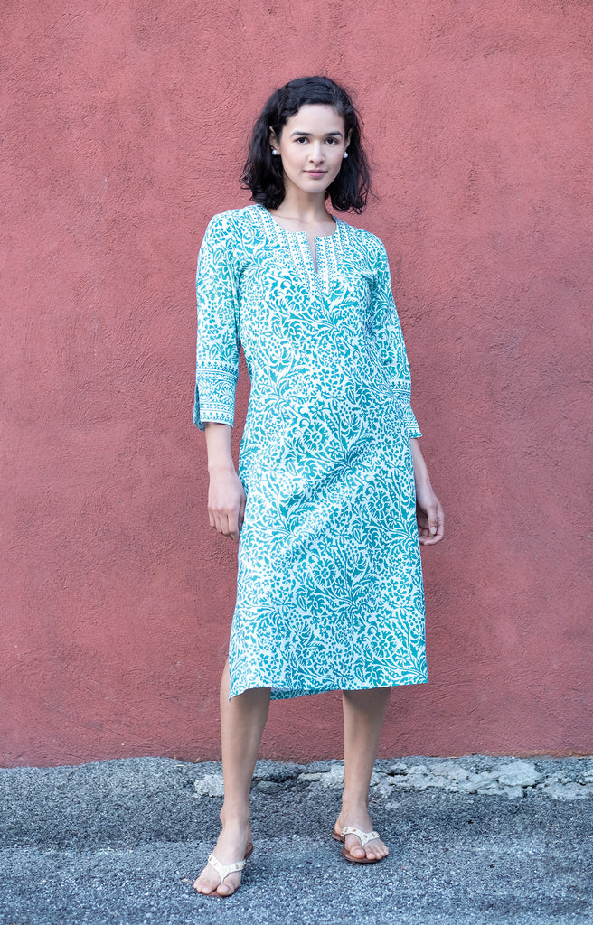 Market Dress in Teal Stencil
