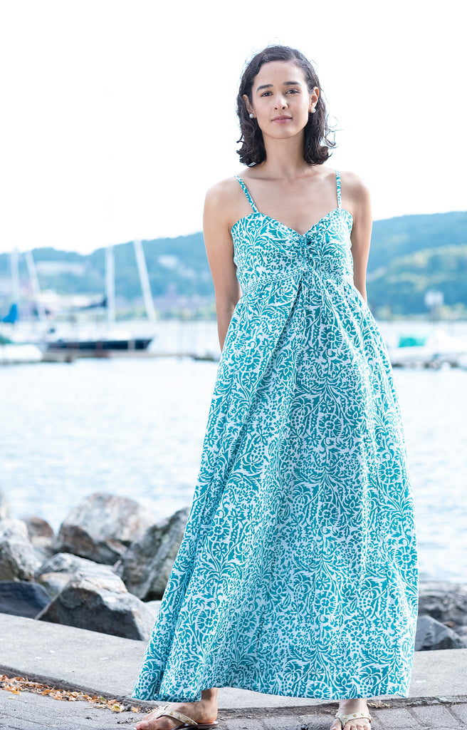 Maxi Dress in Teal Stencil