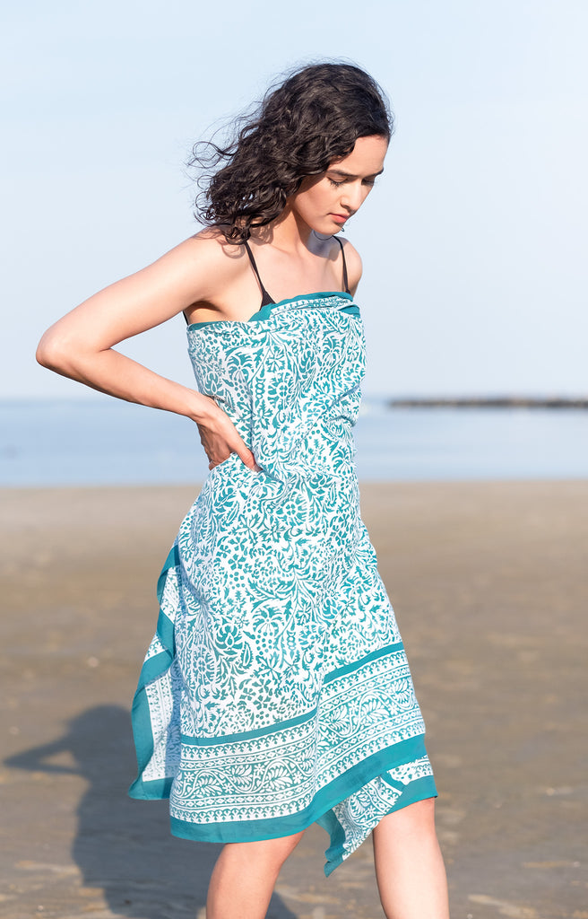 Sarong in Teal Stencil