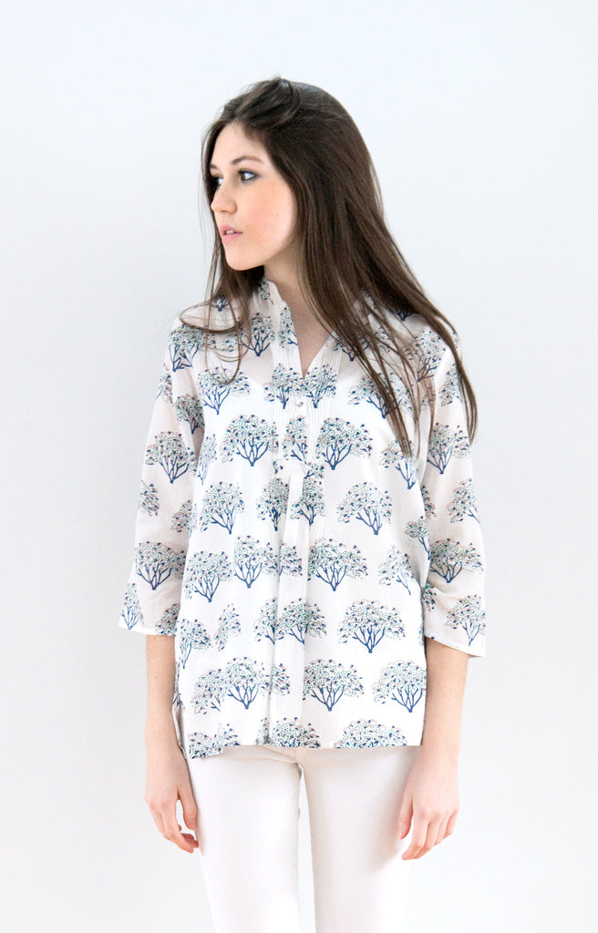 Pintuck Blouse in Thorn Trees