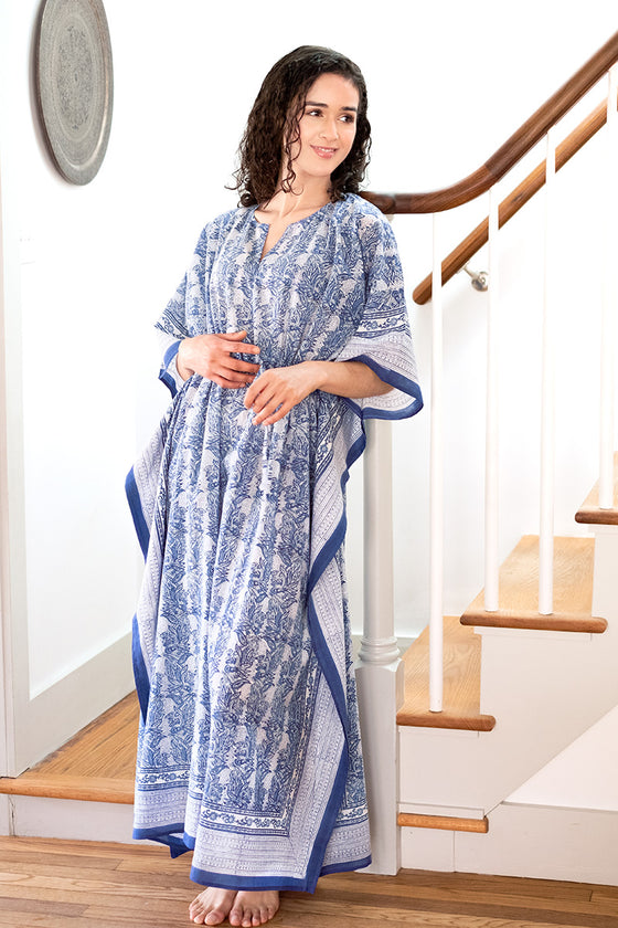 Drawstring Kaftan in Vine Leaves