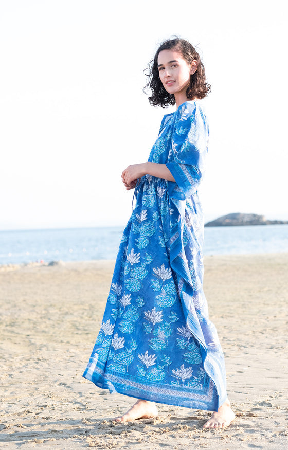 Drawstring Kaftan in Water Lily