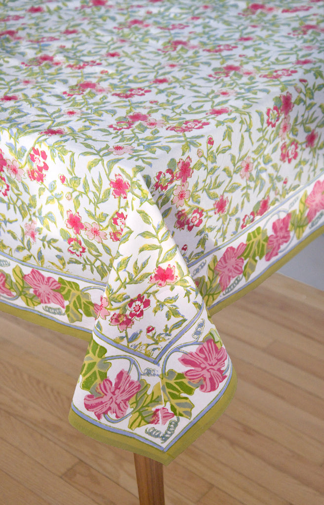 Table Linens in White Rambling Rose