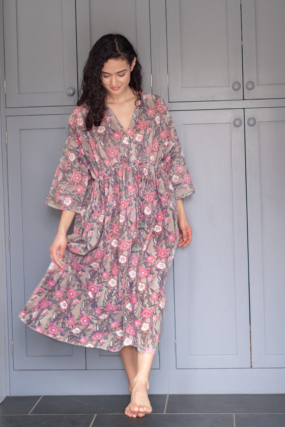 Peasant Dress in Wild Rose