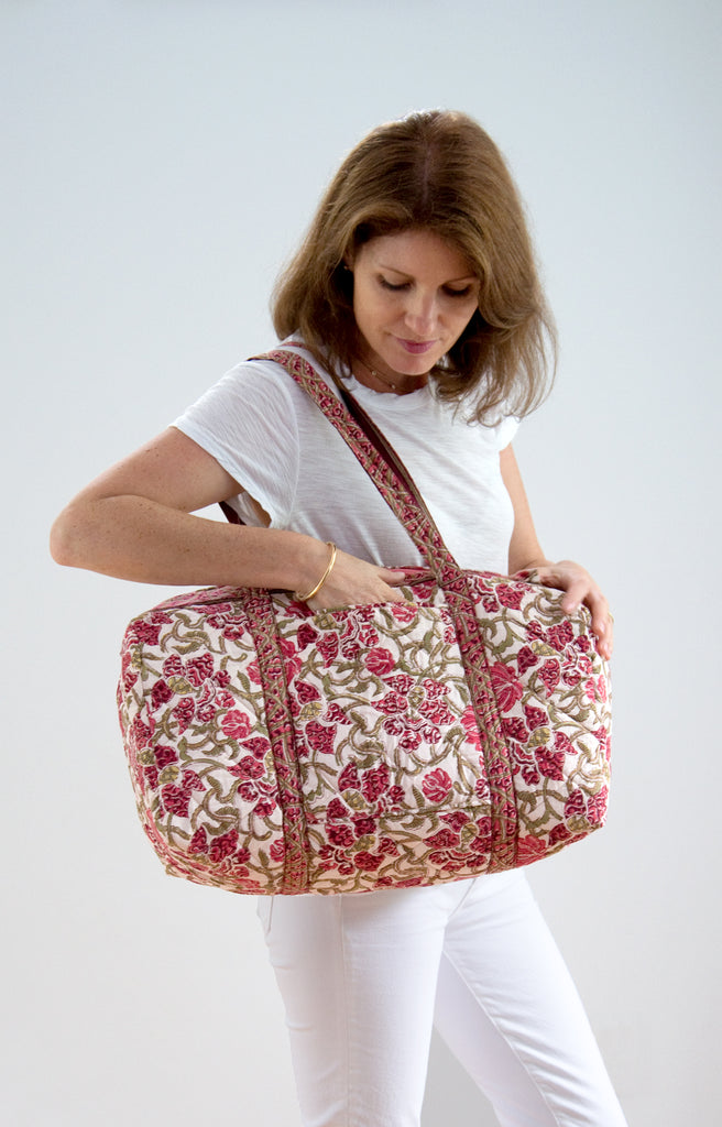 Holdall Bag in Wine Trellis