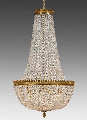 crystal and brass federal style chandelier