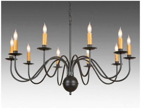 metal chippendale style ten light chandelier