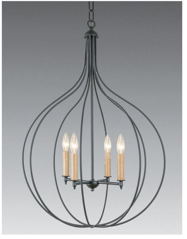brass and metal 4 light chandelier