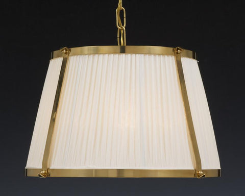 brass and fabric shade four light chandelier