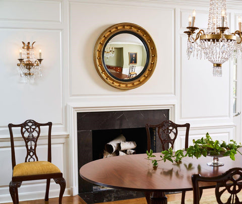 Round Federalist Mirror over Fire Place