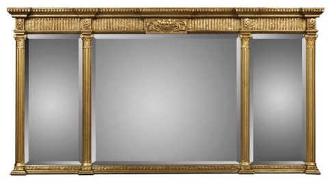 Three Section Beveled Mirror with Carved Basket Cartouche