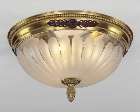 Brass And Frosted Glass Three Light Ceiling Mount Lantern LCM-16