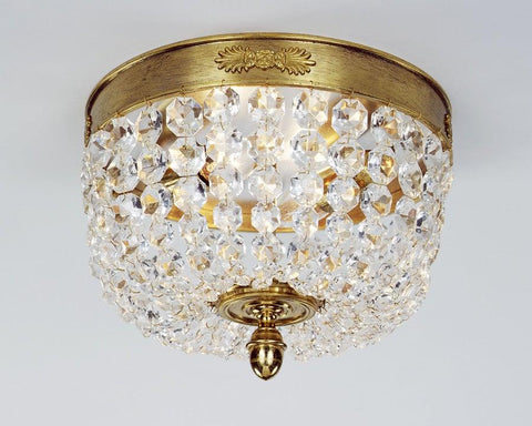 Crystal And Cast Brass Ceiling Mount Lantern LCM-9