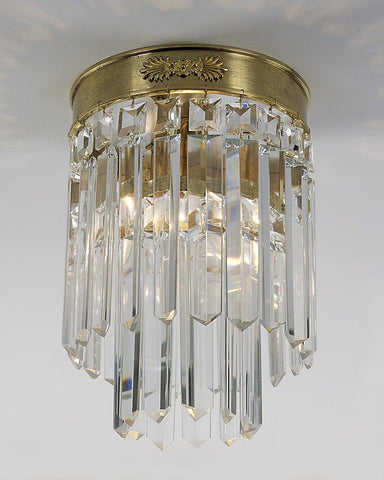 Crystal And Cast Brass One Light Ceiling Mount Lantern LCM-14
