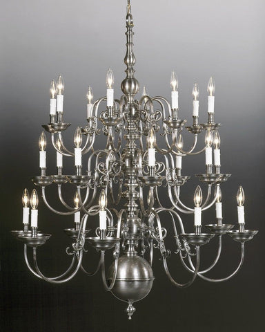 Cast brass Chippendale style twenty four light three tier chandelier LCFI-1
