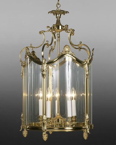 Cast Brass And Glass Curved Lantern With Decorated Details LL-14