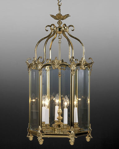 Cast Brass And Glass  Hexagonal Lantern With Decorated Details LL-13
