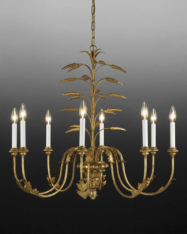 Metal and wood wheat design chandelier LCFI-29