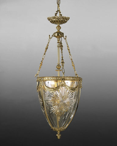 Cast Brass And Cut Crystal Sunburst Design Lantern LL-19
