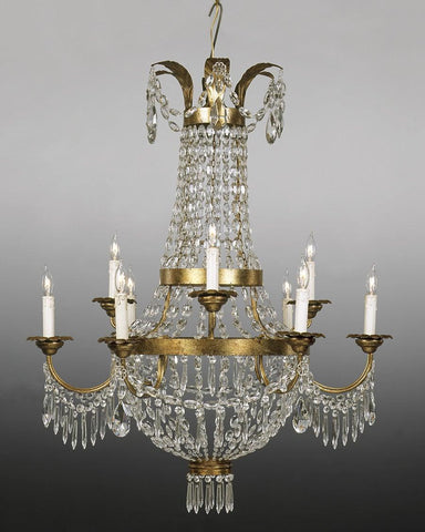 Crystal and metal two tier nine light chandelier LCC-1