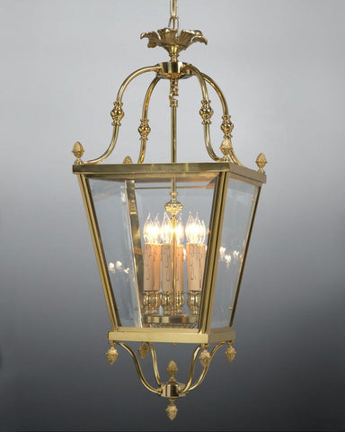 Cast Brass And Glass Carriage Style Lantern LL-21